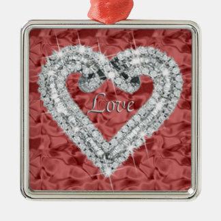 Rotes Quadrat-Liebe-Diamant-Herz-Verzierung Silbernes Ornament