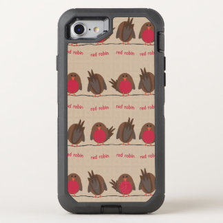 Rotes Robin-Muster OtterBox Defender iPhone 8/7 Hülle
