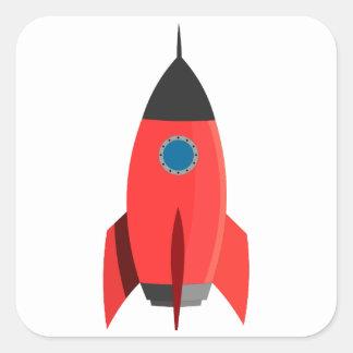 Rotes Rocket Quadratischer Aufkleber