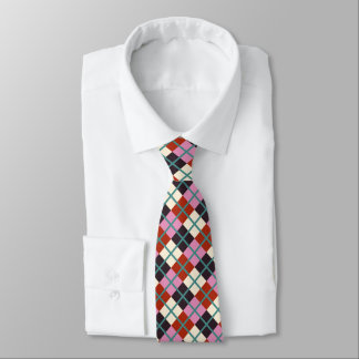 Rotes rosa Auberginen-Elfenbein-aquamarines Muster Krawatte