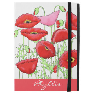 Rotes rosa Mohnblumen-Kunst-Name-Monogramm