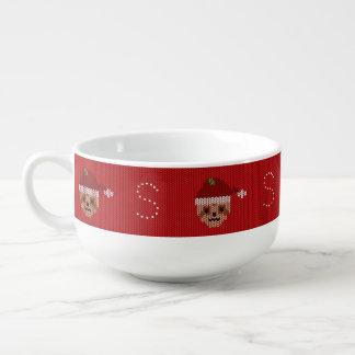 Rotes Sanktsloth-Monogramm-hässliche Große Suppentasse