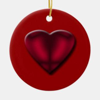 Rotes Satin-Herz Keramik Ornament