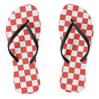 Rotes Schachbrett Flip Flops