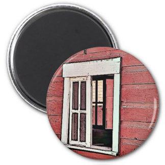 Rotes Scheunen-Fenster Runder Magnet 5,7 Cm