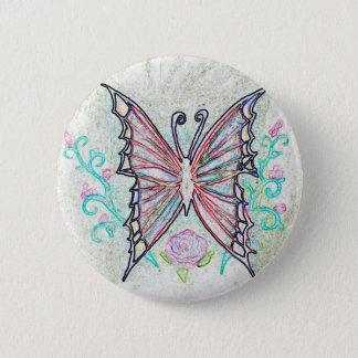 Rotes Schmetterlings-Netz Runder Button 5,1 Cm