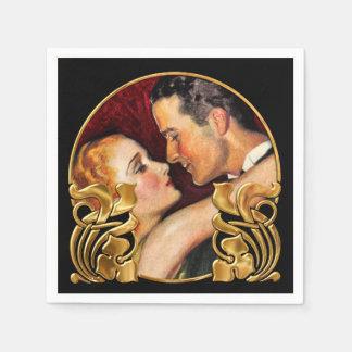 Rotes Schwarz-und Goldkunst-Deko/Kunst Nouveau Papierserviette