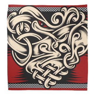Rotes Schwarz-weißes des keltischen Herzens Kopftuch