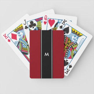 Rotes Schwarz-weißes Streifen   Monogramm Bicycle Spielkarten