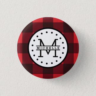 Rotes schwarzer Büffel-kariertes Runder Button 3,2 Cm