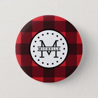 Rotes schwarzer Büffel-kariertes Runder Button 5,7 Cm