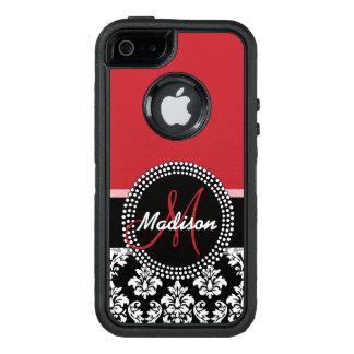 Rotes schwarzes Damast-Muster, Ihr Namensmonogramm OtterBox iPhone 5/5s/SE Hülle