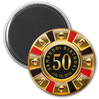 Rotes Schwarzes des Geburtstages | des Runder Magnet 5,1 Cm