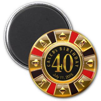 Rotes Schwarzes des Geburtstages | des Runder Magnet 5,7 Cm