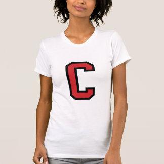 Rotes Schwarzes des Uni-Sport-| des Buchstabe-C | T-Shirt