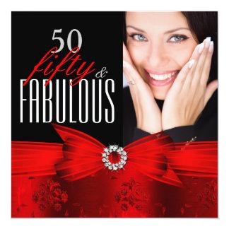 Rotes schwarzes Geburtstags-Party des Quadratische 13,3 Cm Einladungskarte