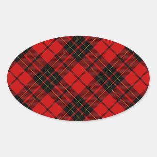 Rotes schwarzes kariertes Brodie Clan Tartan Ovaler Aufkleber