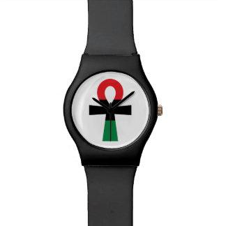 Rotes, schwarzes u. grünes Ankh Uhr