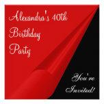 Rotes Schwarzes u. Weiß-40. Geburtstags-Party Individuelle Ankündigungen