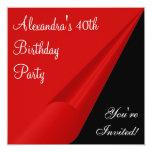Rotes Schwarzes u. Weiß-40. Geburtstags-Party Quadratische 13,3 Cm Einladungskarte