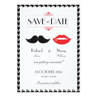 Rotes, schwarzes u. weißes Schnurrbart-u. 12,7 X 17,8 Cm Einladungskarte