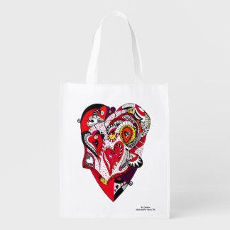 Rotes, schwarzes u. weißes Stift-u. Tinten-Herz Wiederverwendbare Einkaufstasche