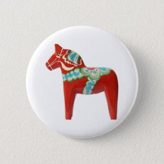 Rotes Schwede Dala Pferd Runder Button 5,7 Cm