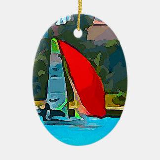 Rotes Segelboot Ovales Keramik Ornament