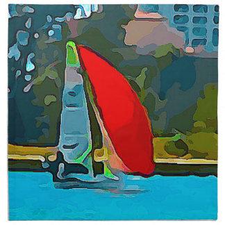 Rotes Segelboot Stoffserviette
