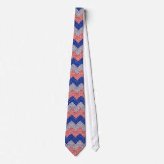 Rotes Silber und blaue Wellen-gestreifte Personalisierte Krawatten
