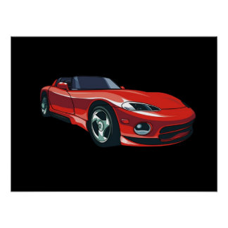 Rotes Sport-Auto Poster