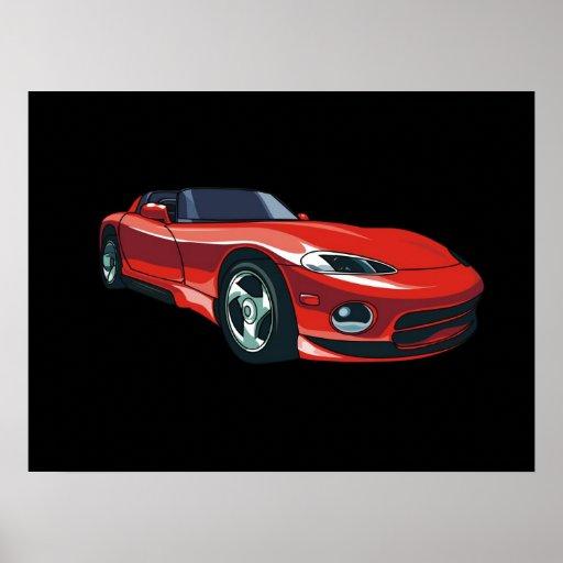 Rotes Sport-Auto Posterdrucke