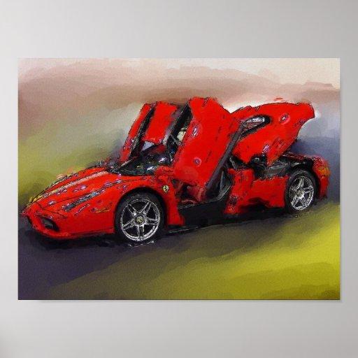 Rotes Sportauto Plakatdruck