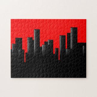 rotes Stadtbild Puzzle