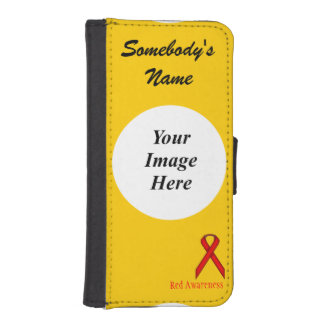 Rotes Standardband durch Kenneth Yoncich iPhone SE/5/5s Geldbeutel Hülle