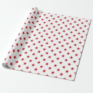 Rotes Stern-Packpapier Geschenkpapier