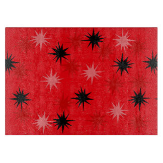 Rotes Sternexplosion-Glasschneiden-atomarbrett Schneidebrett