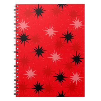 Rotes Sternexplosion-Taschen-atomarnotizbuch Spiral Notizblock