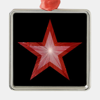 Rotes Sternverzierungs-Quadratschwarzes Silbernes Ornament