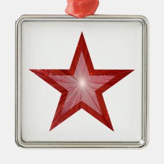 Rotes Sternverzierungs-Quadratweiß Silbernes Ornament