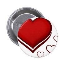 Rotes stilisiertes Herz mit kleineren Herzen Anstecknadelbuttons