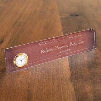 Rotes Stuck-Schreibtisch-Nummernschild mit Uhr Namensplakette