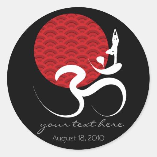 Rotes Sun-Yoga-geistiger Inder meditieren OM-Ohm-L Sticker