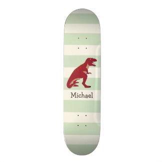 Rotes T-Rex auf grünen Pastellstreifen Individuelle Skateboards