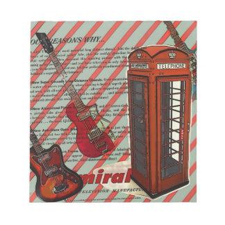Rotes Telefon-Band-Rock'n'Roll-elektrische Gitarre Notizblock