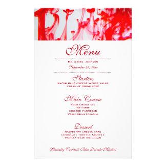 Rotes Tinten-Hochzeits-Abendessen-Menü 14 X 21,6 Cm Flyer