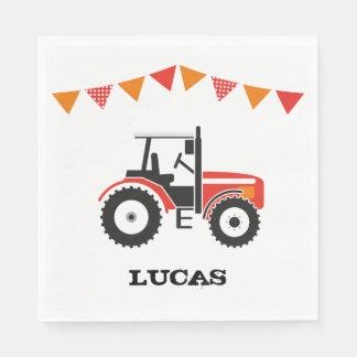 Rotes Traktor-Geburtstags-Party-Papierservietten Papierserviette