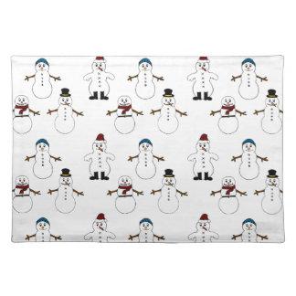 Rotes Trendy Tischset weißes niedliches Snowman