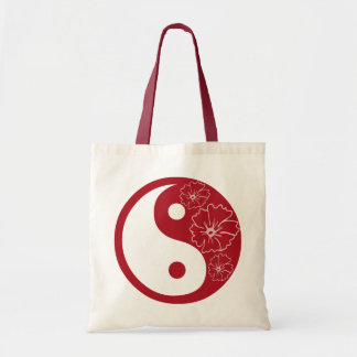 Rotes tropisches Blume Yin Yang Symbol Tragetasche
