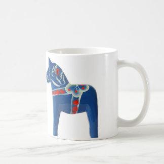 Rotes u. blaues Dala Pferd Kaffeetasse